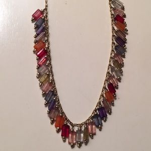 Multi color necklace dainty cascading beads